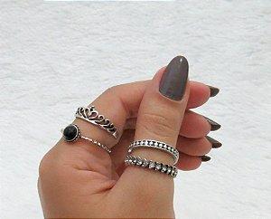 Conjunto de anéis com 4 peças, coroa basic strass, prateado