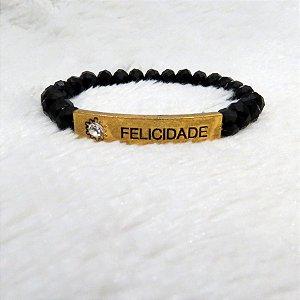 Pulseira mandamentos, felicidade, black, gold
