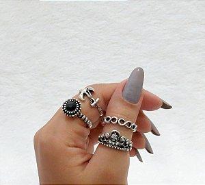Conjunto de anéis com 4 peças, insipired naútico