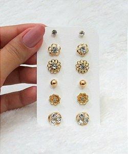 Kit 6 pares de brincos, cute, dourado