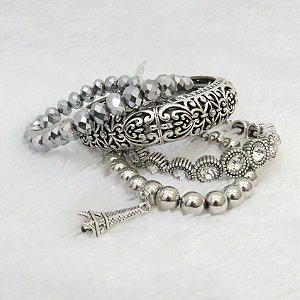 Conjunto de pulseiras, 4 peças, torre eiffel I