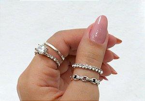 Conjunto de anéis com 4 peças, shine, solitário, prateado - REF: K009