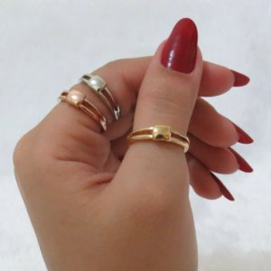 Conjunto de anéis com 3 peças, estações, bold