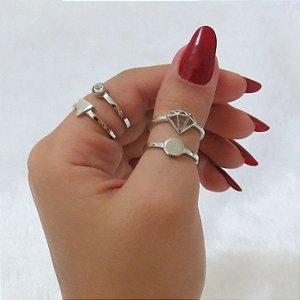 Conjunto de anéis com 4 peças, diamante, prateado