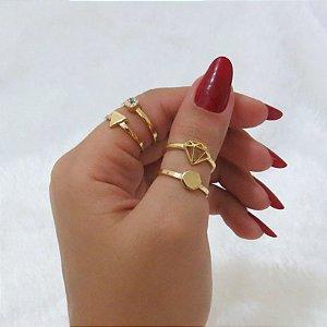 Conjunto de anéis com 4 peças, diamante, dourado