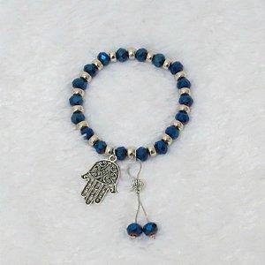 Pulseira VIBE, azul, prateada, mão de fátima - REF P082