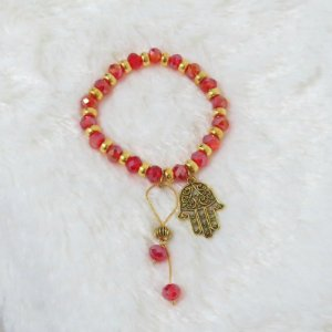 Pulseira VIBE, vermelha, dourada, mão de fátima - REF P086