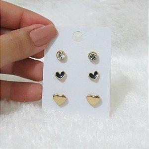 Kit 3 pares de brincos, coração, dourado