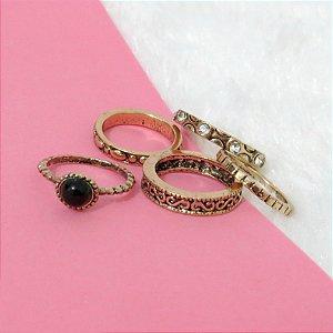 Conjunto de anéis com 5 peças, pandora inspired, dourado