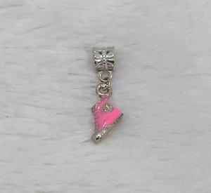 Berloque pingente, resinado, tênis, rosa chiclete