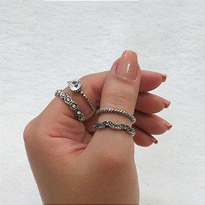 Conjunto de anéis com 4 peças, classic cristal, prateado