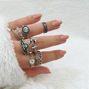 KIT Madame, conjunto de anéis com 8 peças, R$ 2,48 cada, grátis 1 falange