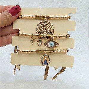 Conjunto de pulseiras, santa fé, 3 peças, pai nosso, dourada - REF P092