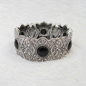 Pulseira elegance, pedra preta, prateada - REF P093