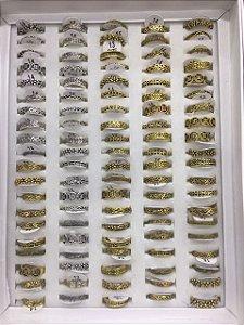 50 anéis de falange, prata/dourado , tam. sortidos, 13, 14 e 15