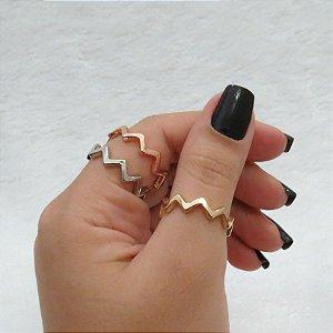 Conjunto de anéis com 3 peças, estações, zig zag