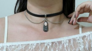 Choker stylish, rosa