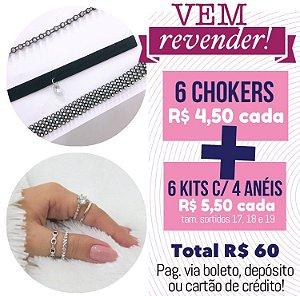 PROMO - Vem Revender - 6 chokers + 6 kits de anéis