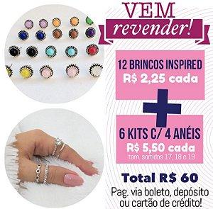 PROMO - Vem Revender - 12 brincos inspired + 6 kits de anéis