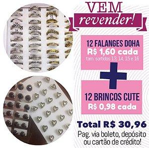 PROMO - Vem Revender - 12 anéis de falange + 12 brincos cute