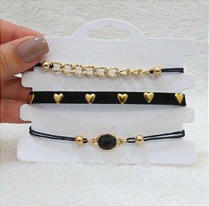 Conjunto de pulseiras, 3 peças, perfect love, courinho, dourada