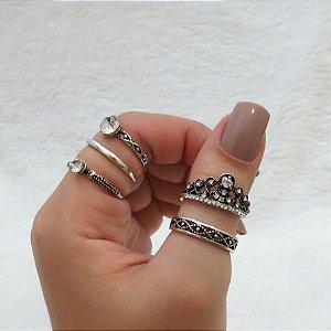 Conjunto de anéis com 5 peças, coroa, 2 solitários, prateado