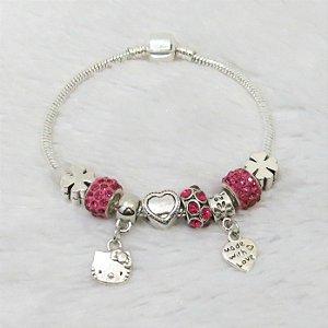 Pulseira inspired, pink, hello kitty, 6 berloques + 2 pingentes - REF P096