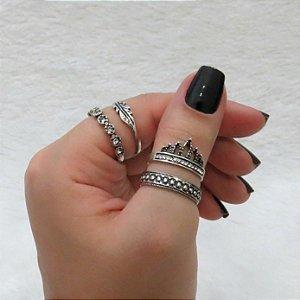 Conjunto de anéis com 4 peças, folha coroada, prateado