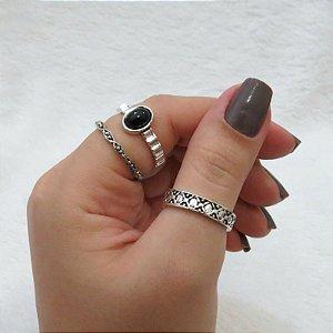 Conjunto de anéis com 3 peças, stylized, pedra preta, prateado