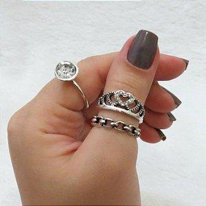 Conjunto de anéis com 3 peças, queen, pedra branca, prateado