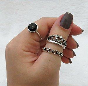 Conjunto de anéis com 3 peças, queen, pedra preta, prateado