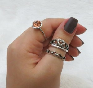 Conjunto de anéis com 3 peças, queen, pedra rose gold, prateado