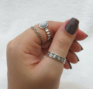 Conjunto de anéis com 3 peças, stylized, pedra mármore, prateado