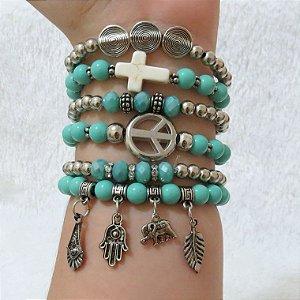 Conjunto de pulseiras sweet, 6 peças, símbolo da paz, turquesa - GDE577GPJ