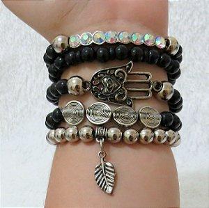Conjunto de pulseiras sweet, 5 peças, mão de Fátima, preta - PYBVGN76Z