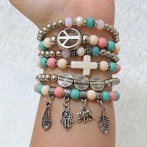 Conjunto de pulseiras sweet, 6 peças, símbolo da paz, colorida - XATVNTZG8