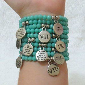 Conjunto de pulseiras dream, 10 peças, 10 mandamentos, turquesa - REF P098
