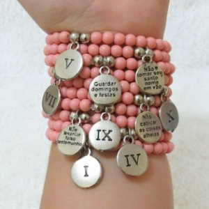 Conjunto de pulseiras dream, 10 peças, 10 mandamentos, rosa - YCZ6JWH53