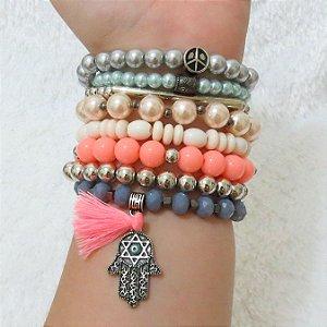 Conjunto de pulseiras joy, 8 peças, mão de Fátima - G89XV8X9B