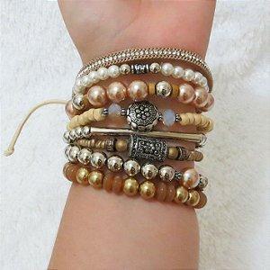 Conjunto de pulseiras joy, 8 peças, courinho - QJC9AVTEG