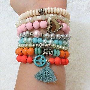 Conjunto de pulseiras joy, 8 peças, coração - 4HEF3FQA6