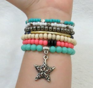 Conjunto de pulseiras happiness, 7 peças, estrela - YAS7HSV7Y
