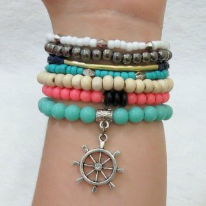 Conjunto de pulseiras happiness, 7 peças, leme - REF P102