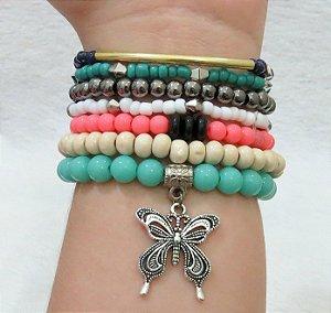 Conjunto de pulseiras happiness, 7 peças, borboleta - GEUDCGFYQ