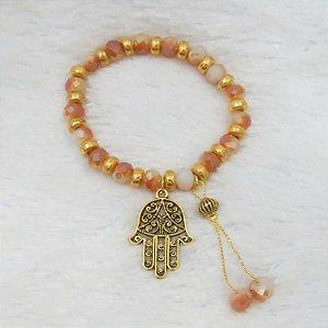 Pulseira wonderful, camaleoa, mão de Fátima, dourada - REF P110