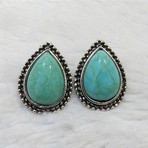 Brinco drop, new collection - pedra turquesa - NH8YMVL75