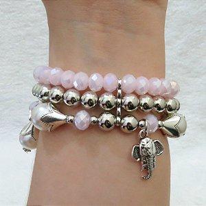 Pulseira tripla perfection - rosa claro - elefante - REF P116