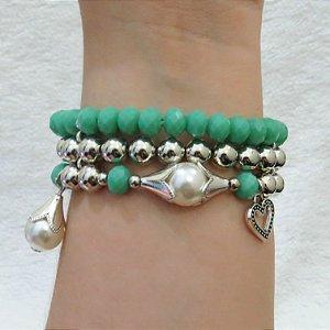 Pulseira tripla perfection - verde - coração - REF P117