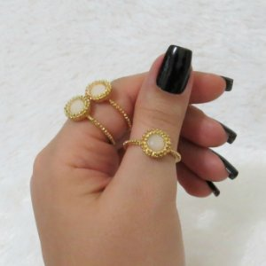 Conjunto de anéis com 3 peças, mary, dourado