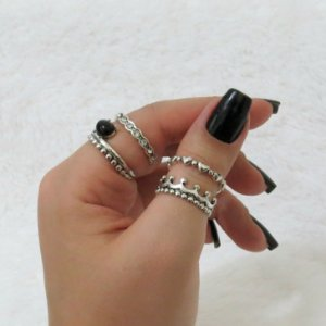 Conjunto de anéis com 4 peças, amor real black, prateado - REF: K017